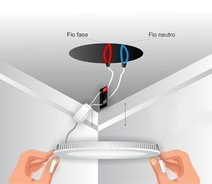 Instalação do plafon LED